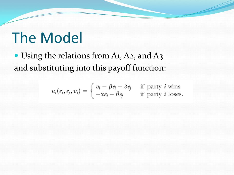 The Model Using the relations from A1, A2, and A3 and substituting into this payoff function: