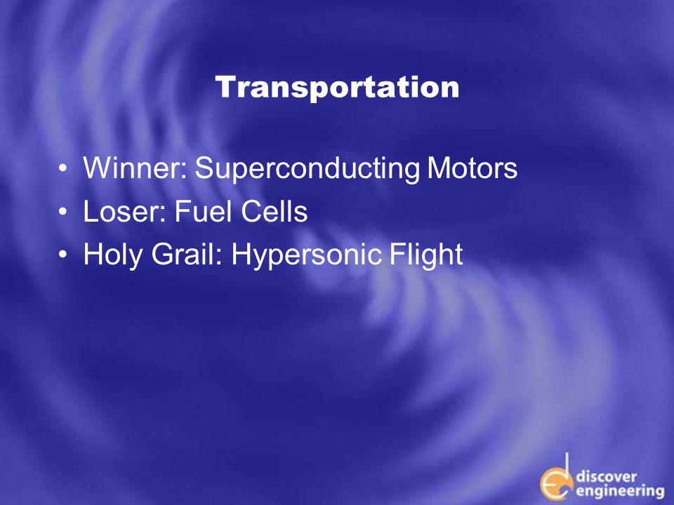 ECSE Department Programs Transportation Winner: Superconducting Motors Loser: Fuel Cells Holy Grail: Hypersonic Flight
