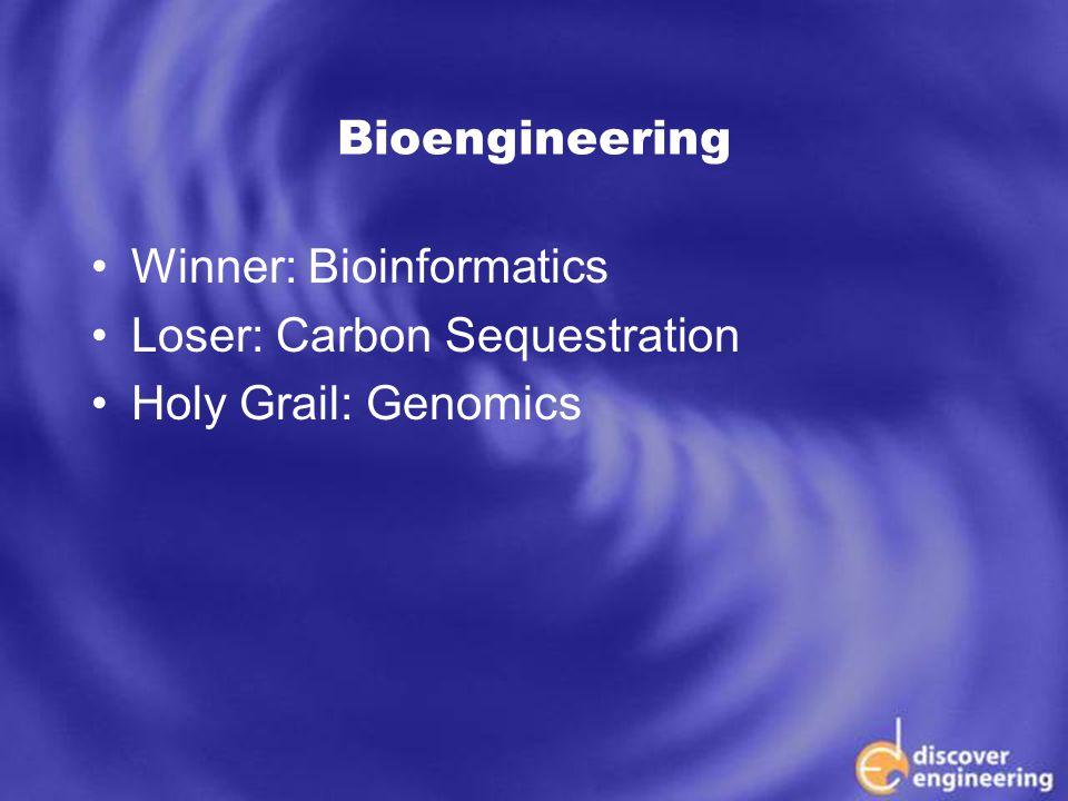 ECSE Department Programs Bioengineering Winner: Bioinformatics Loser: Carbon Sequestration Holy Grail: Genomics