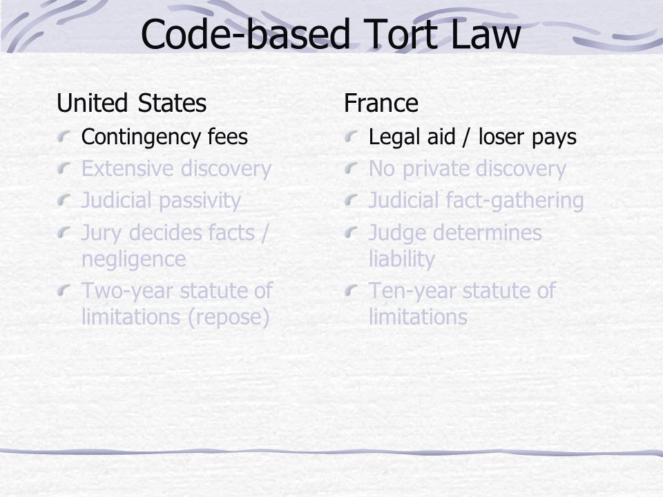 Code-based Tort Law United States Contingency fees Extensive discovery Judicial passivity Jury decides facts / negligence Two-year statute of limitati