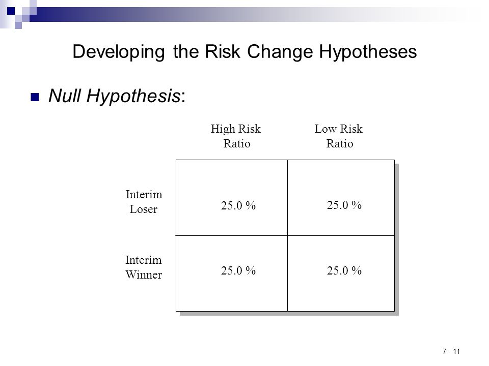 7 - 11 Developing the Risk Change Hypotheses Null Hypothesis: High Risk Ratio 25.0 % Low Risk Ratio Interim Loser Interim Winner