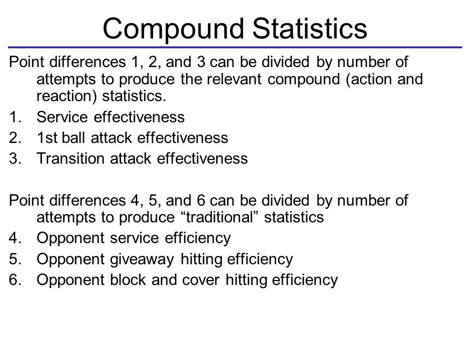 Compound Statistics Point differences 1, 2, and 3 can be divided by number of attempts to produce the relevant compound (action and reaction) statistics.