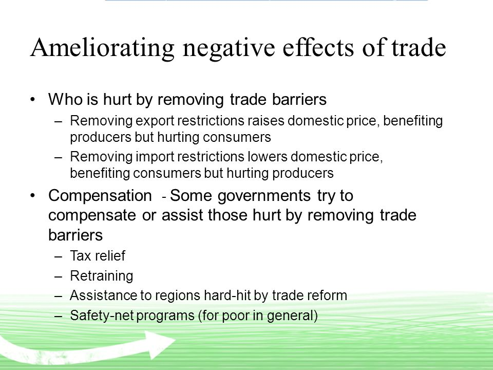 Ameliorating negative effects of trade Who is hurt by removing trade barriers –Removing export restrictions raises domestic price, benefiting producers but hurting consumers –Removing import restrictions lowers domestic price, benefiting consumers but hurting producers Compensation - Some governments try to compensate or assist those hurt by removing trade barriers –Tax relief –Retraining –Assistance to regions hard-hit by trade reform –Safety-net programs (for poor in general)
