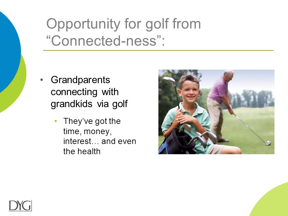 "Opportunity for golf from ""Connected-ness"": Grandparents connecting with grandkids via golf They've got the time, money, interest… and even the health"