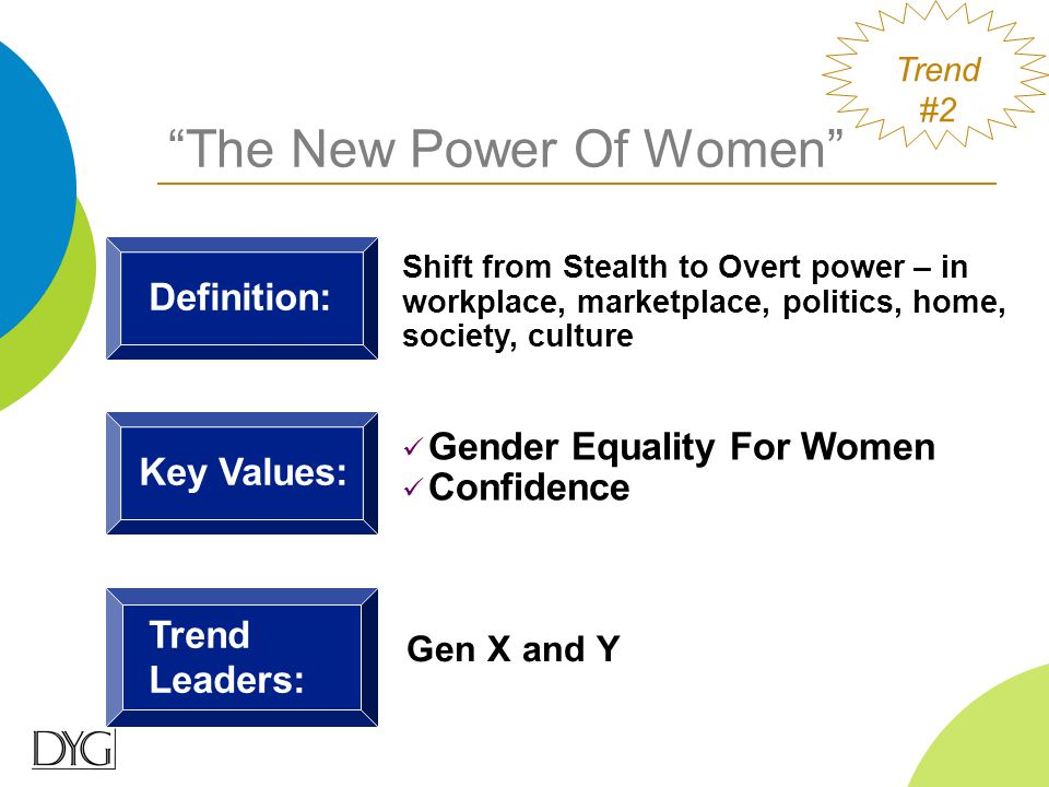 Gen X and Y Trend Leaders: Definition: Shift from Stealth to Overt power – in workplace, marketplace, politics, home, society, culture Key Values: Gen