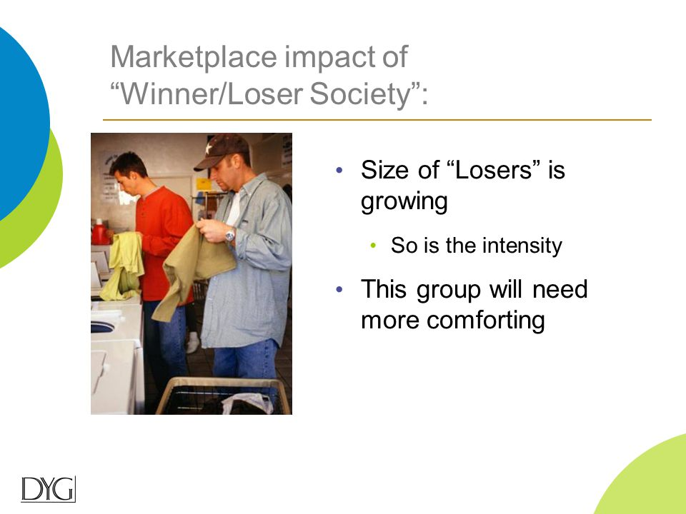 "Marketplace impact of ""Winner/Loser Society"": Size of ""Losers"" is growing So is the intensity This group will need more comforting"