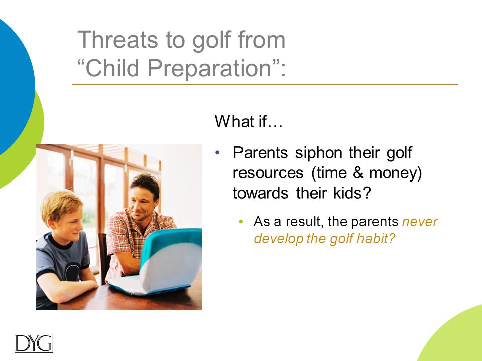 "Threats to golf from ""Child Preparation"": What if… Parents siphon their golf resources (time & money) towards their kids? As a result, the parents nev"