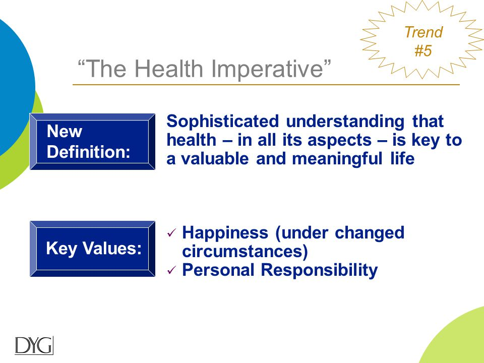 Sophisticated understanding that health – in all its aspects – is key to a valuable and meaningful life Key Values: Happiness (under changed circumsta