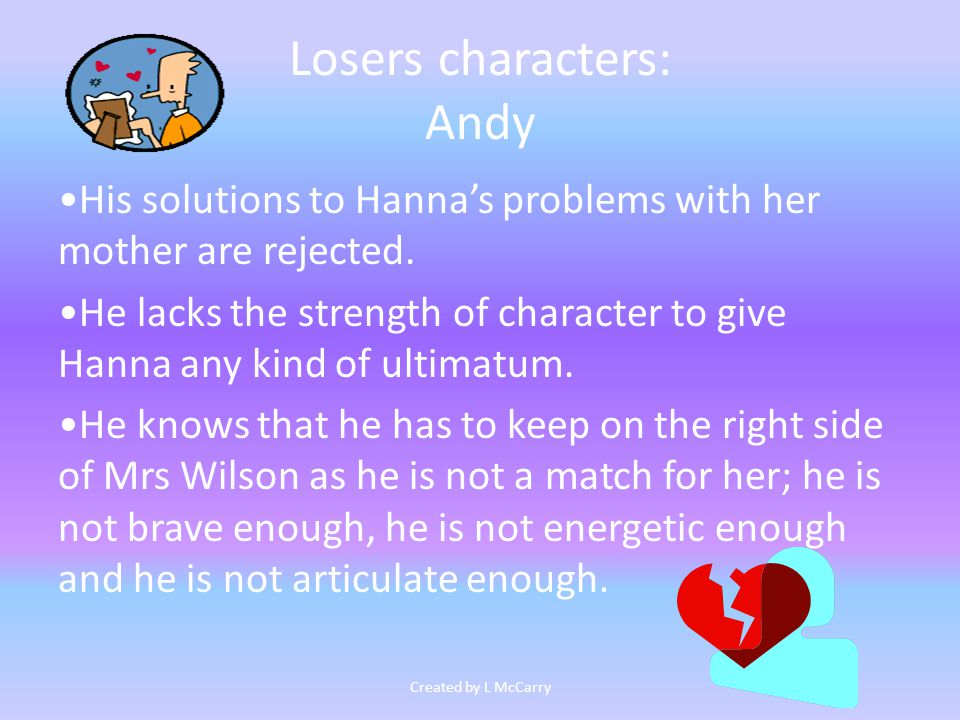 Losers characters: Andy His solutions to Hanna's problems with her mother are rejected.