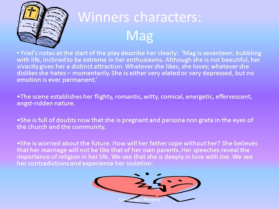 Winners characters: Mag Mag is hurt and frightened.