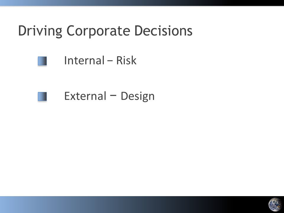 Driving Corporate Decisions Internal − Risk External − Design