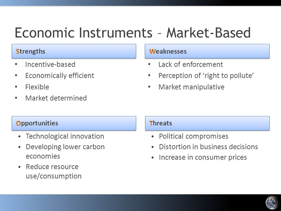Incentive-based Economically efficient Flexible Market determined Lack of enforcement Perception of 'right to pollute' Market manipulative Economic In