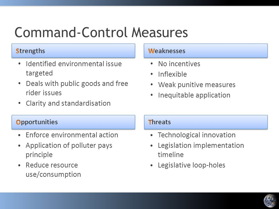 Identified environmental issue targeted Deals with public goods and free rider issues Clarity and standardisation No incentives Inflexible Weak punitive measures Inequitable application Command-Control Measures Enforce environmental action Application of polluter pays principle Reduce resource use/consumption Technological innovation Legislation implementation timeline Legislative loop-holes