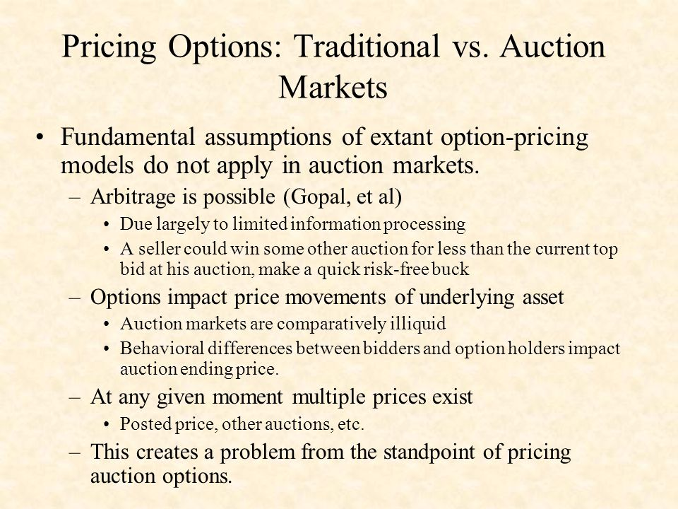 Pricing Options: Traditional vs.