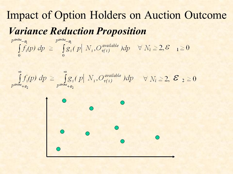 Impact of Option Holders on Auction Outcome Variance Reduction Proposition