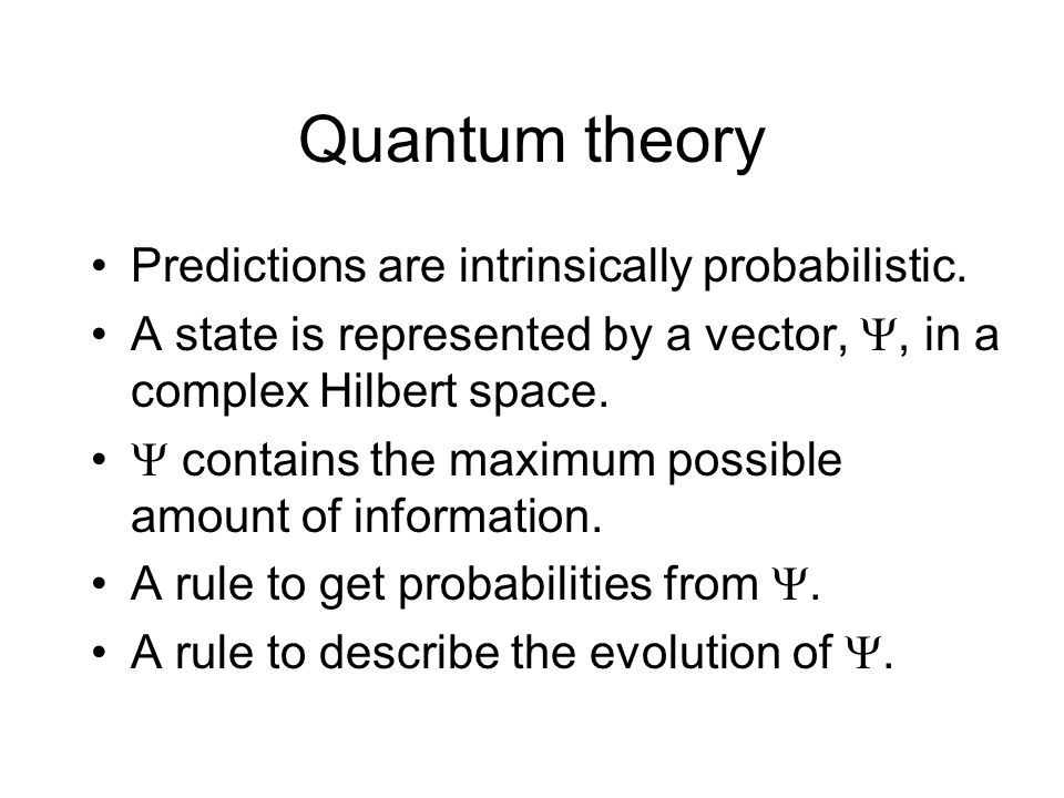 Quantum theory Predictions are intrinsically probabilistic.