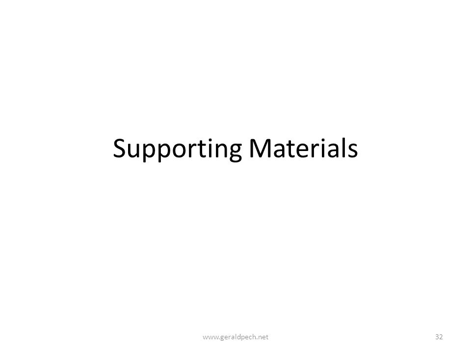 Supporting Materials www.geraldpech.net32