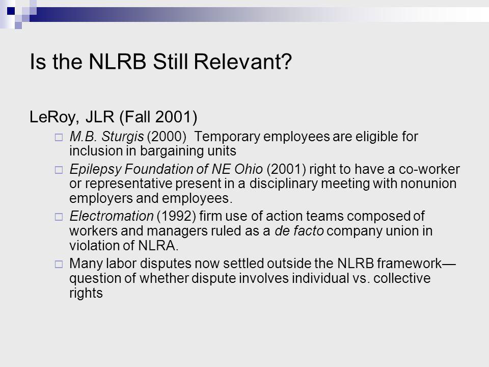 Is the NLRB Still Relevant.LeRoy, JLR (Fall 2001)  M.B.