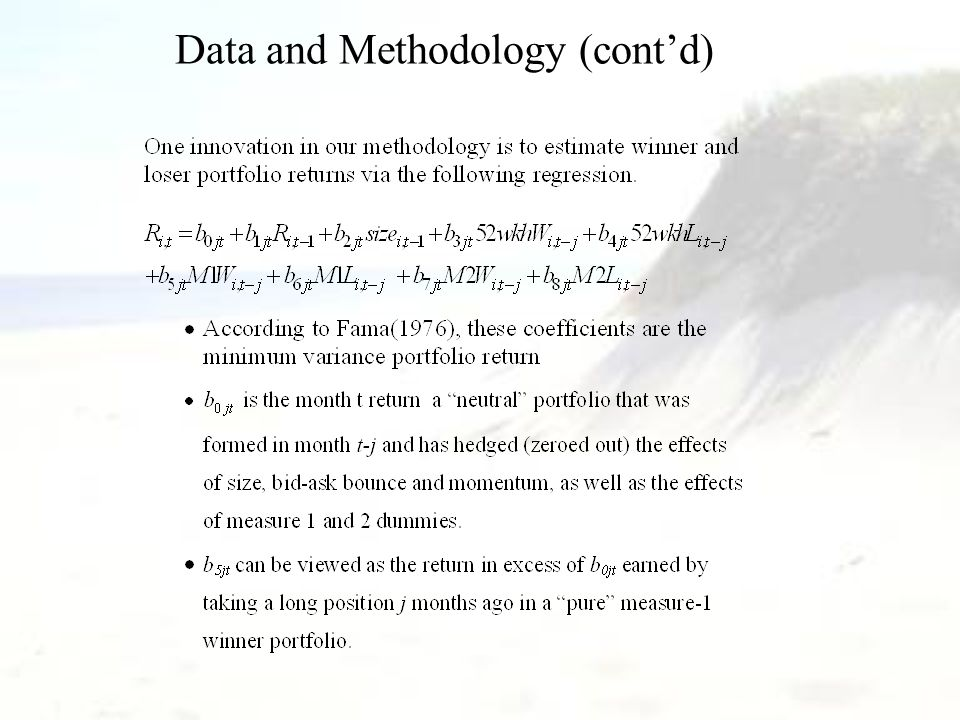 Data and Methodology (cont'd)