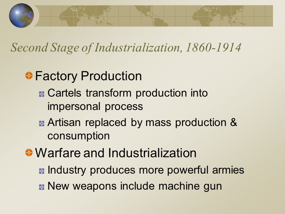 Second Stage of Industrialization, 1860-1914 Factory Production Cartels transform production into impersonal process Artisan replaced by mass production & consumption Warfare and Industrialization Industry produces more powerful armies New weapons include machine gun