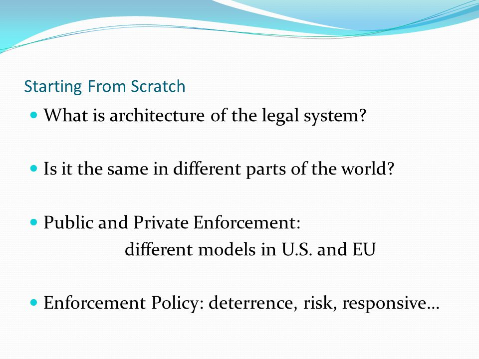 Starting From Scratch What is architecture of the legal system.