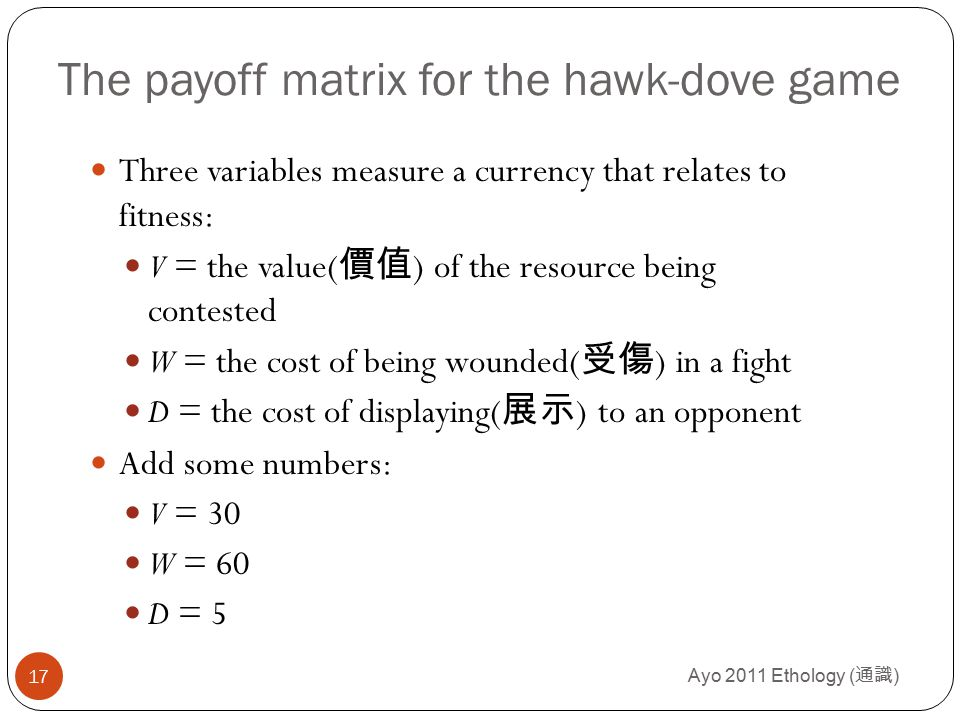 Ayo 2011 Ethology ( 通識 ) 17 The payoff matrix for the hawk-dove game Three variables measure a currency that relates to fitness: V = the value( 價值 ) o