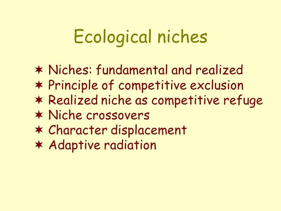 Ecological niches  Niches: fundamental and realized  Principle of competitive exclusion  Realized niche as competitive refuge  Niche crossovers  Character displacement  Adaptive radiation
