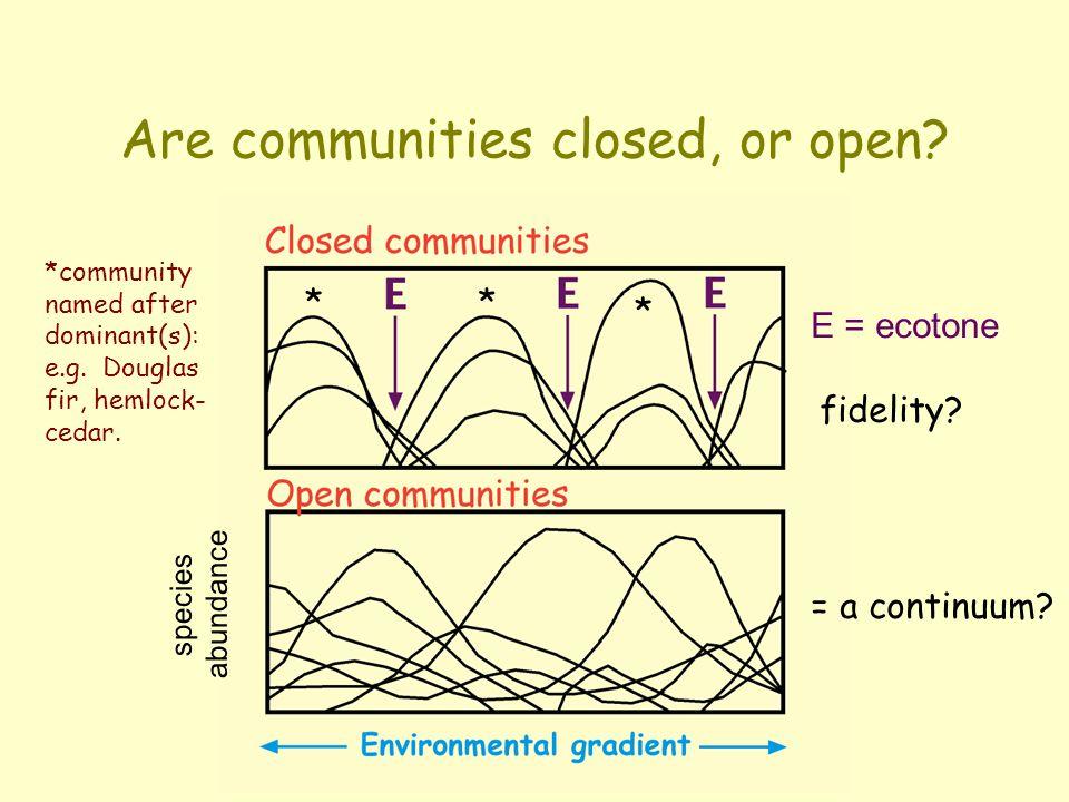 Community structure  Closed vs. open communities  Ecotones (community boundaries)  The continuum concept  Biogeoclimatic zones