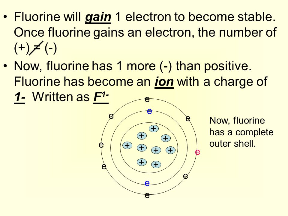 Fluorine will gain 1 electron to become stable. Once fluorine gains an electron, the number of (+) = (-) Now, fluorine has 1 more (-) than positive. F