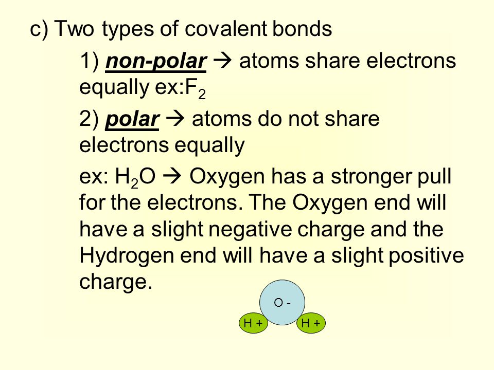 c) Two types of covalent bonds 1) non-polar  atoms share electrons equally ex:F 2 2) polar  atoms do not share electrons equally ex: H 2 O  Oxygen