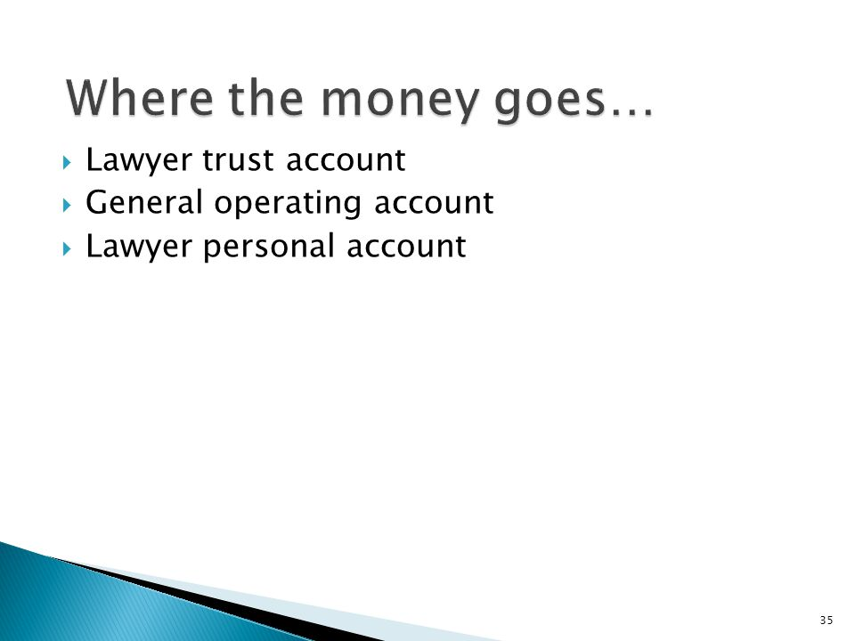  Lawyer trust account  General operating account  Lawyer personal account 35