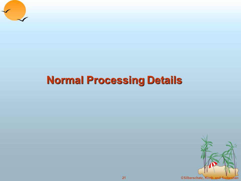©Silberschatz, Korth and Sudarshan21 Normal Processing Details