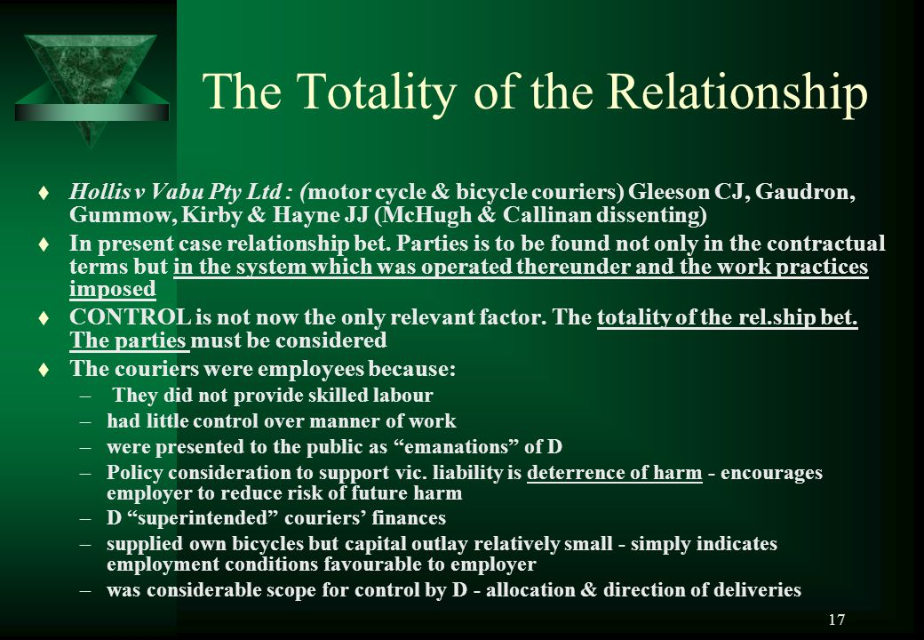 17 The Totality of the Relationship t Hollis v Vabu Pty Ltd : (motor cycle & bicycle couriers) Gleeson CJ, Gaudron, Gummow, Kirby & Hayne JJ (McHugh &