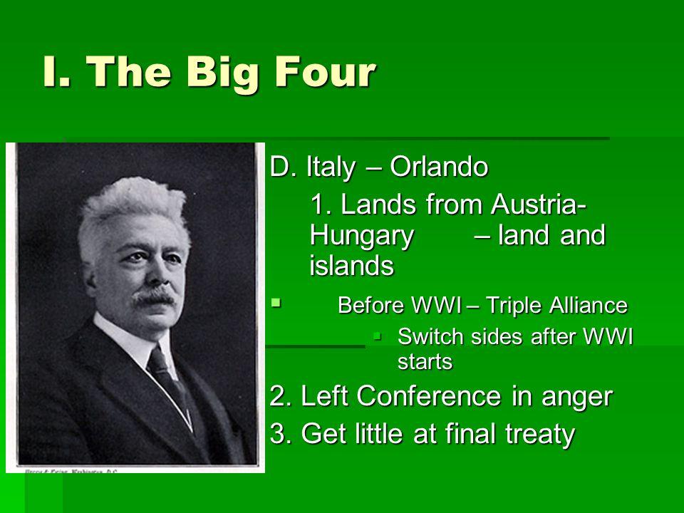 I.The Big Four D. Italy – Orlando 1.