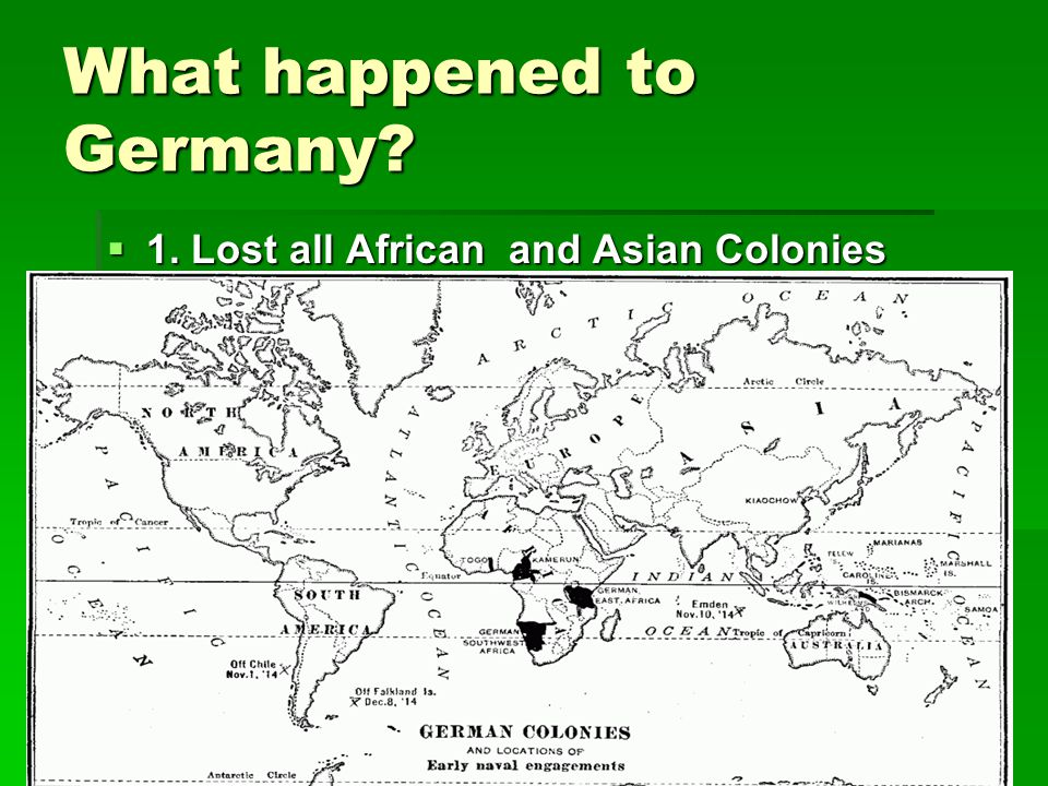 What happened to Germany?  1. Lost all African and Asian Colonies