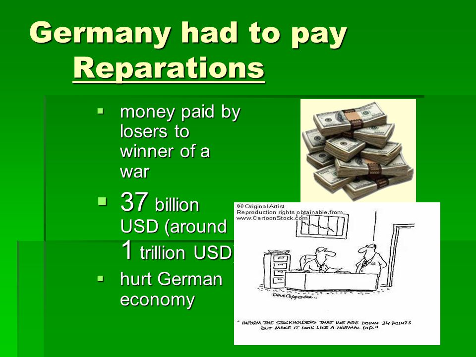 Germany had to pay Reparations  money paid by losers to winner of a war  37 billion USD (around 1 trillion USD)  hurt German economy