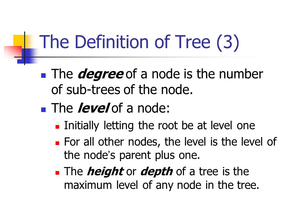The Definition of Tree (3) The degree of a node is the number of sub-trees of the node. The level of a node: Initially letting the root be at level on