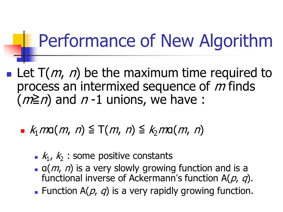 Performance of New Algorithm Let T(m, n) be the maximum time required to process an intermixed sequence of m finds (m ≧ n) and n -1 unions, we have :