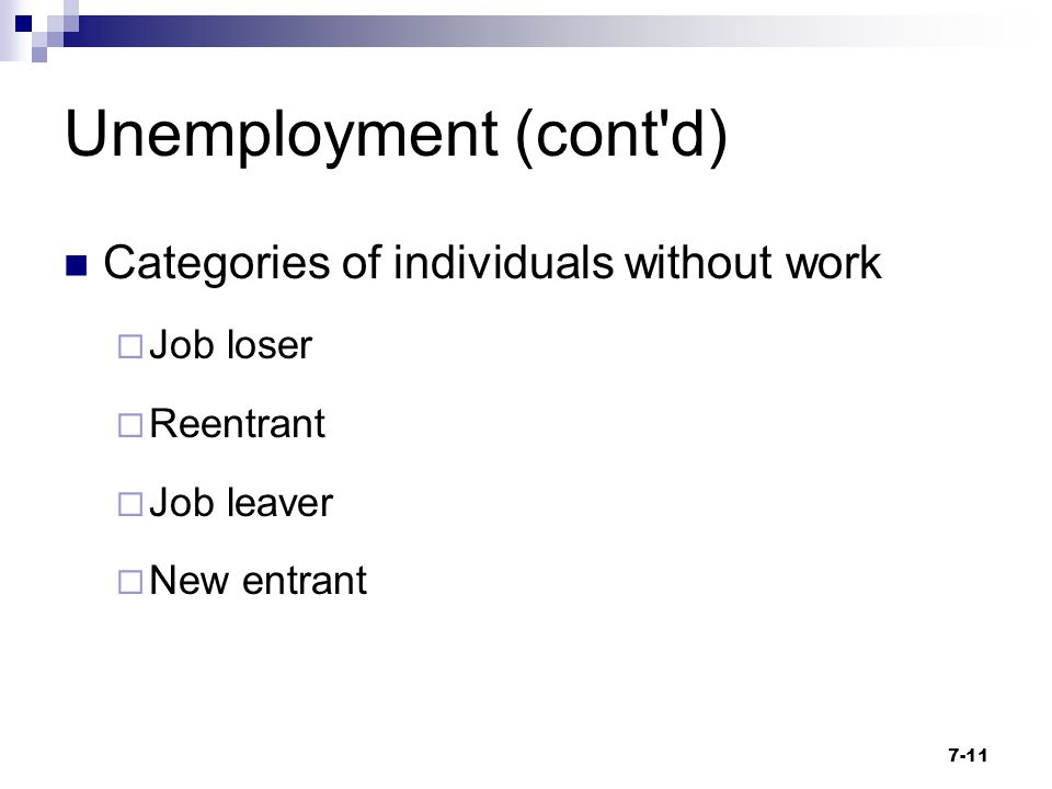 Unemployment (cont'd) Categories of individuals without work  Job loser  Reentrant  Job leaver  New entrant 7-11