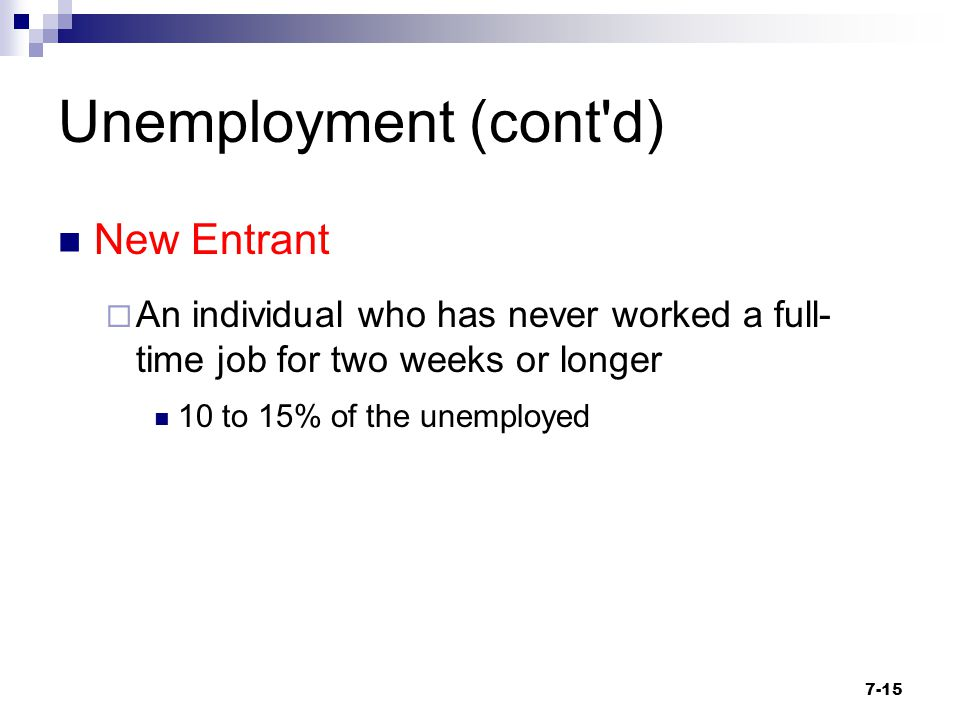 Unemployment (cont'd) New Entrant  An individual who has never worked a full- time job for two weeks or longer 10 to 15% of the unemployed 7-15