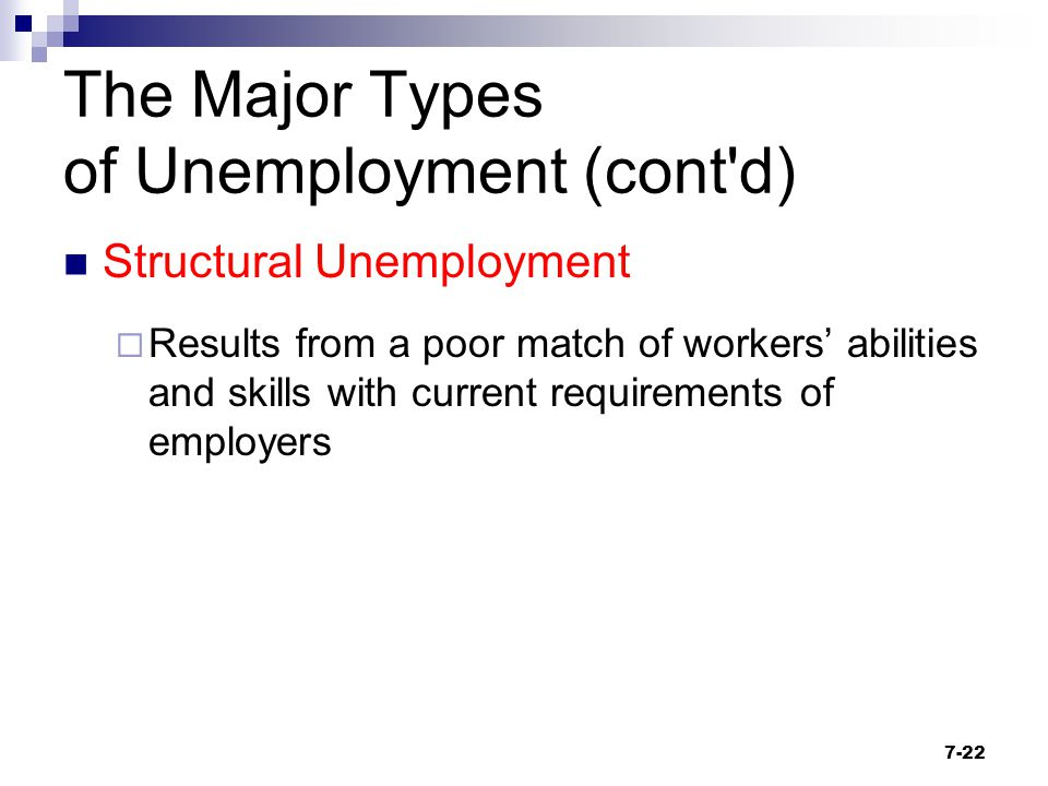 The Major Types of Unemployment (cont'd) Structural Unemployment  Results from a poor match of workers' abilities and skills with current requirement