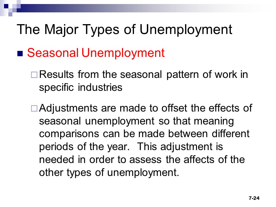 The Major Types of Unemployment Seasonal Unemployment  Results from the seasonal pattern of work in specific industries  Adjustments are made to off