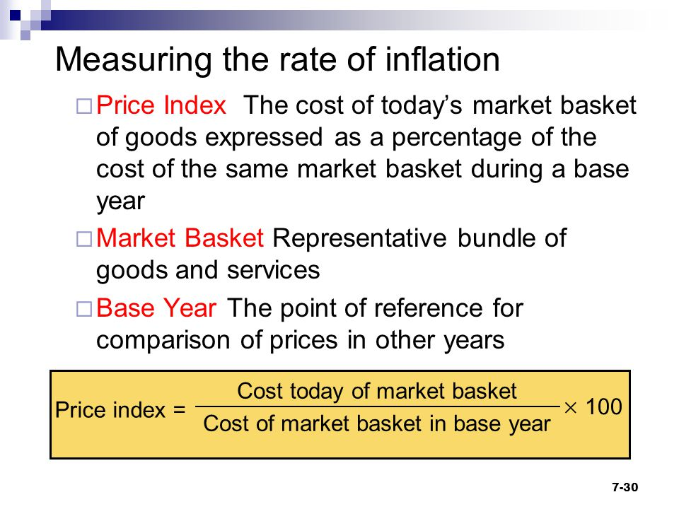  Price Index The cost of today's market basket of goods expressed as a percentage of the cost of the same market basket during a base year  Market B