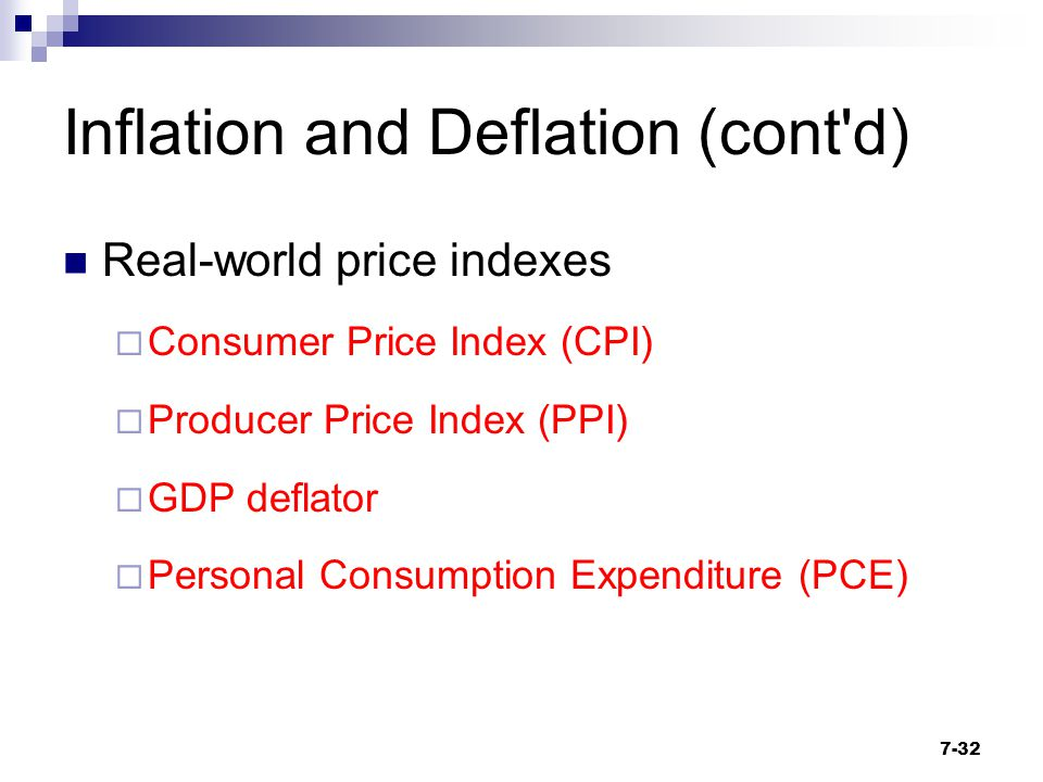 Inflation and Deflation (cont'd) Real-world price indexes  Consumer Price Index (CPI)  Producer Price Index (PPI)  GDP deflator  Personal Consumpt