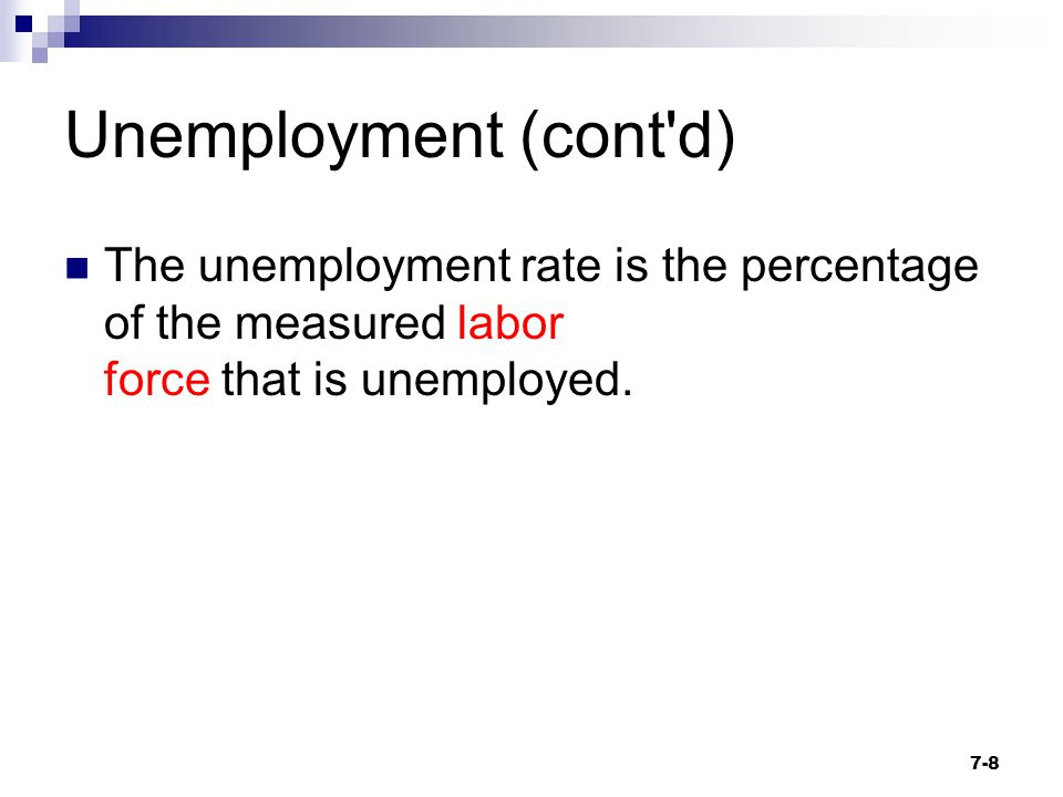 Unemployment (cont'd) The unemployment rate is the percentage of the measured labor force that is unemployed. 7-8