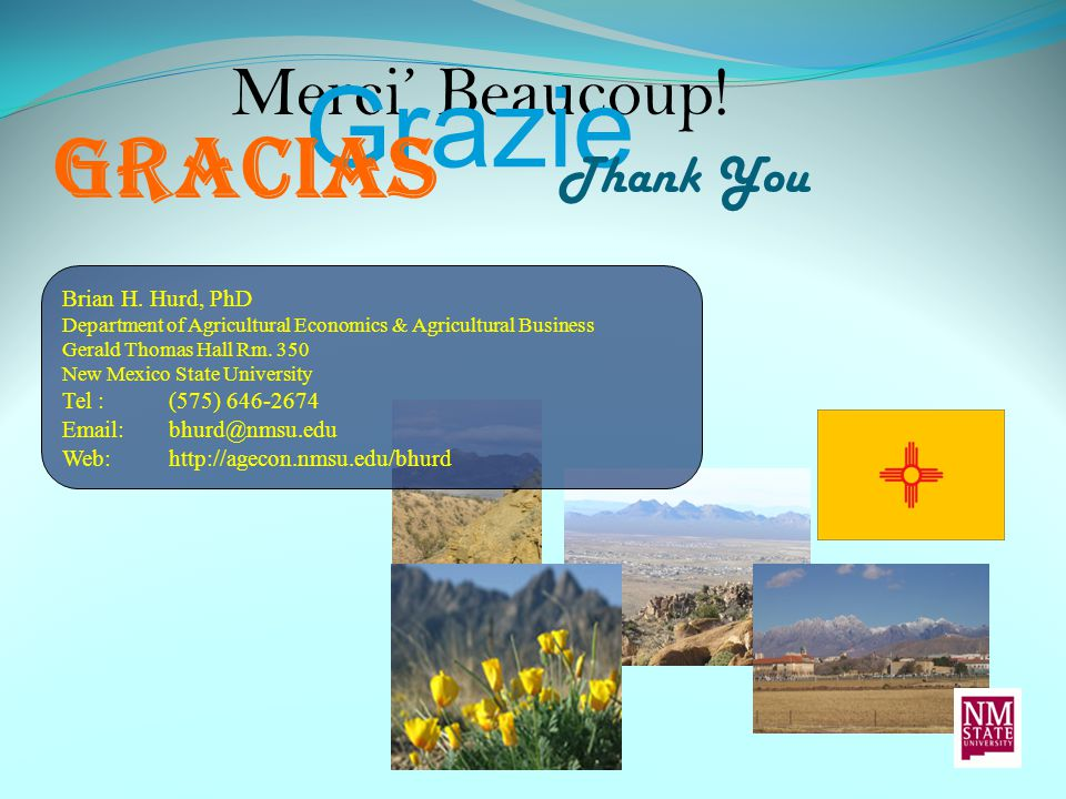 Merci' Beaucoup! Grazie Thank You Gracias Brian H. Hurd, PhD Department of Agricultural Economics & Agricultural Business Gerald Thomas Hall Rm. 350 N