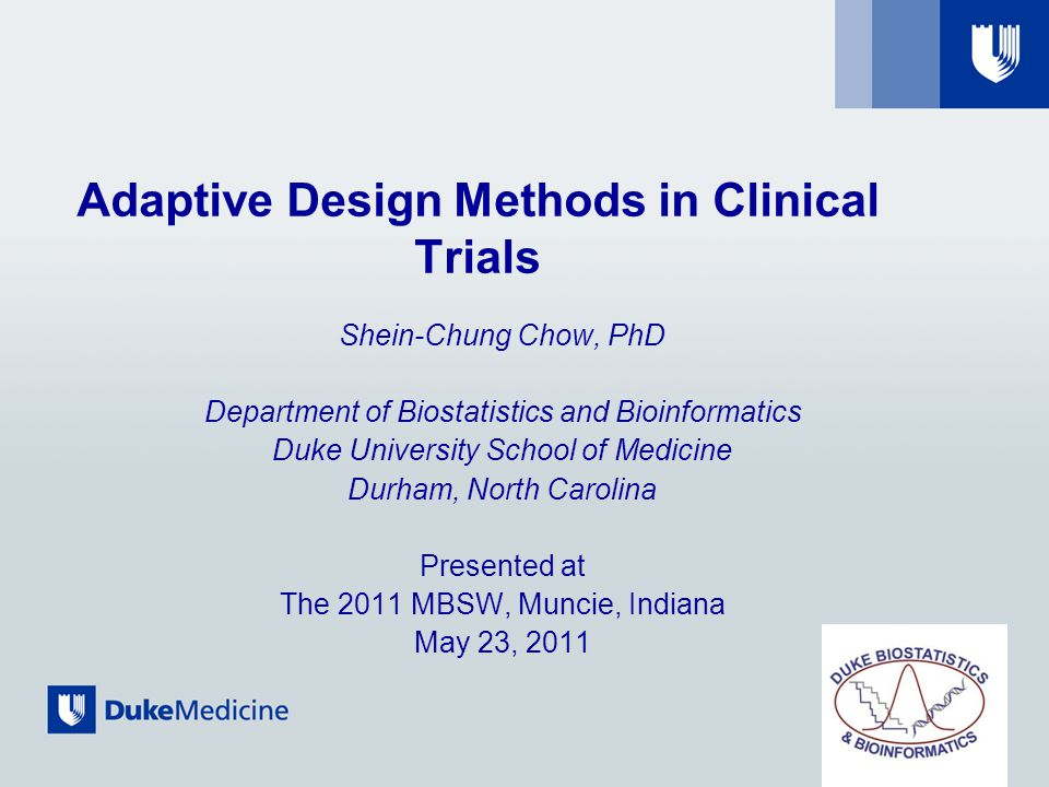 Future perspectives Design-specific guidances are necessarily developed Misuse Abuse Statistical methods need to be derived Validity Reliability Monitoring of adaptive trial design Integrity