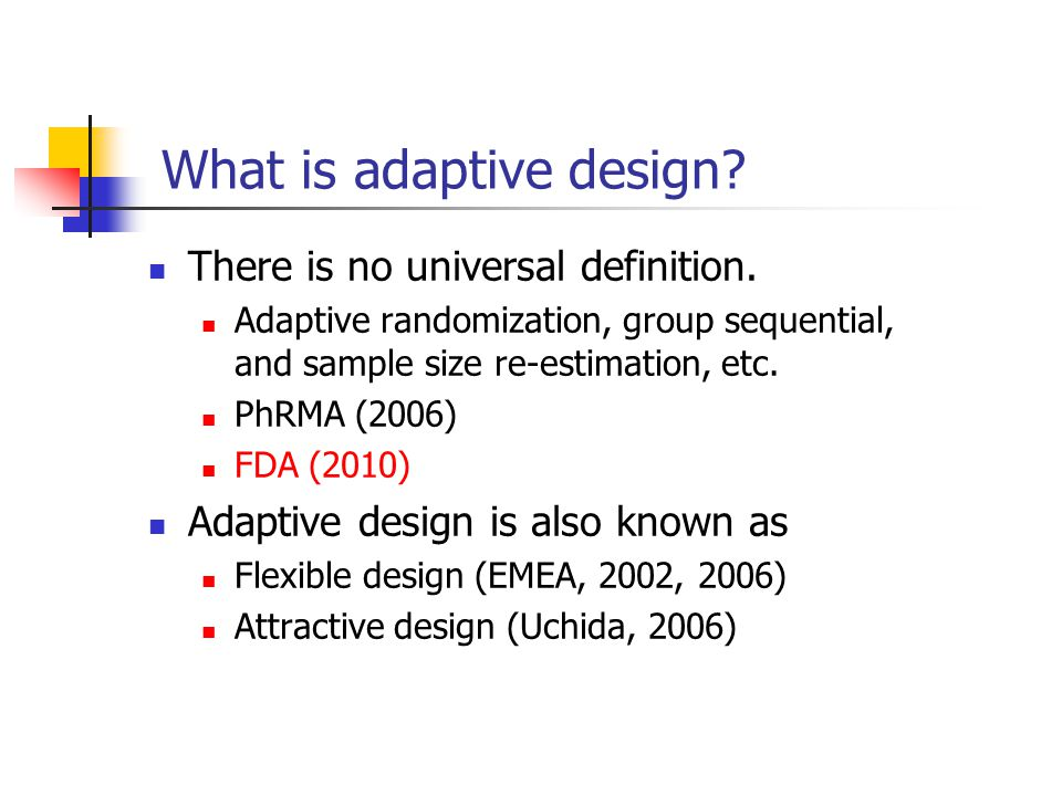 Adaptive treatment-switching design A design that allows the investigator to switch a patient ' s treatment from an initial assignment to an alternative treatment if there is evidence of lack of efficacy or safety of the initial treatment Commonly employed in cancer trials In practice, a high percentage of patients may switch due to disease progression