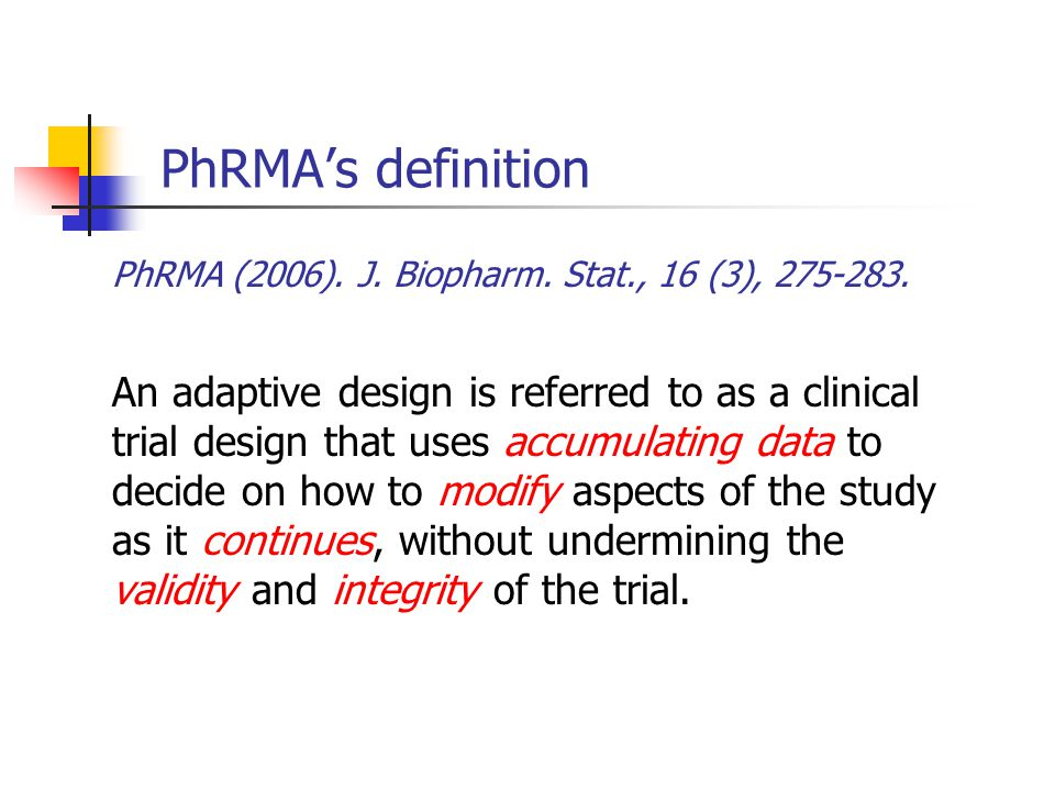 Flexible sample size re-estimation An adaptive design that allows for sample size adjustment or re-estimation based on the observed data at interim blinding or unblinding Sample size adjustment or re-estimation is usually performed based on the following criteria variability conditional power reproducibility probability etc.