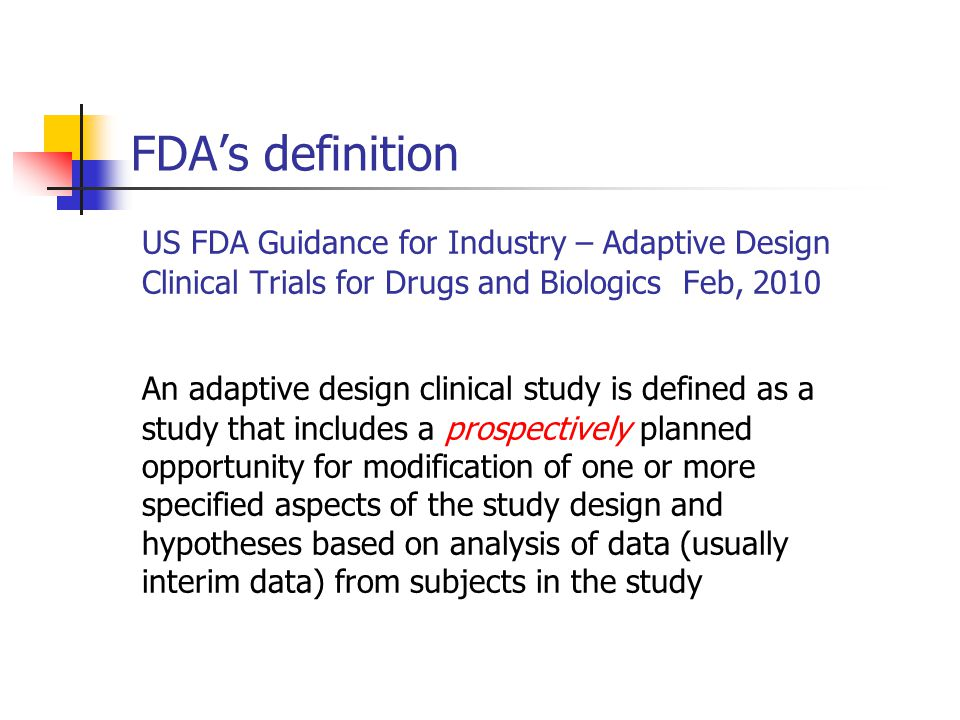 An example – the HCV study Study objectives – to evaluate the safety and efficacy of a test treatment for treating patients with hepatitis C virus (HCV) genotype 1 infection Dose selection (phase II) Efficacy confirmation (phase III) Study design A two-stage phase II/III seamless adaptive design Subjects are randomly assigned to five treatments (4 active and one placebo)